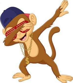 Macaco dabbing dos desenhos animados em branco