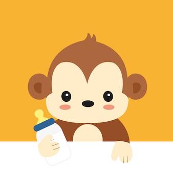 Macaco de bebê bonito dos desenhos animados. ilustração vetorial