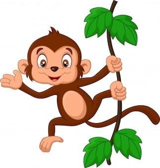 Macaco de bebê dos desenhos animados acenando