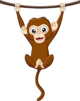 Macaco de bebê dos desenhos animados, pendurado em um galho de madeira