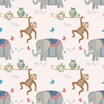Macaco de elefante animal bonito dos desenhos animados e padrão de coruja.