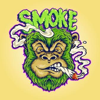 Macaco de erva daninha fumando um cigarro ilustrações vetoriais para seu trabalho logotipo, t-shirt da mercadoria do mascote, adesivos e designs de etiquetas, cartazes, cartões comemorativos anunciando empresas ou marcas.