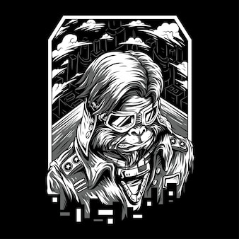 Macaco do espaço remasterizado ilustração preto e branco