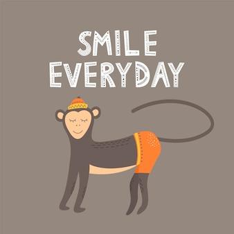 Macaco e a inscrição sorriem todos os dias em estilo escandinavo em fundo cinza. ilustração em vetor plana.