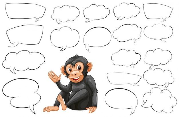 Macaco e diferentes tipos de ilustração de palavras de bolha