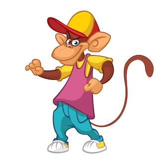 Macaco engraçado dos desenhos animados dançando