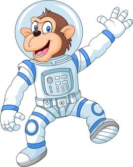 Macaco engraçado dos desenhos animados, vestindo traje de astronauta