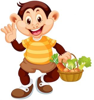 Macaco feliz com cesto de legumes