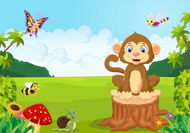 Macaco feliz na floresta
