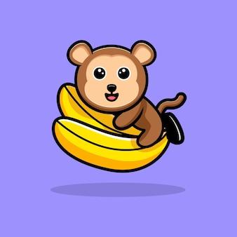 Macaco fofo abraça mascote dos desenhos animados de banana