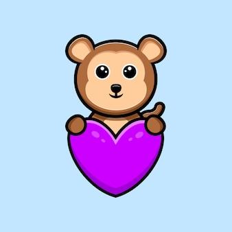 Macaco fofo abraça mascote dos desenhos animados de coração roxo