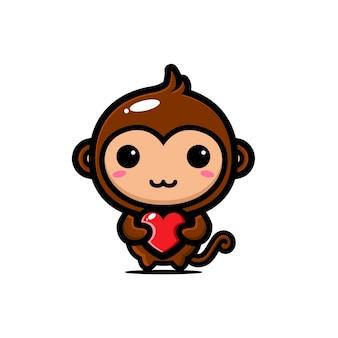 Macaco fofo abraçando um coração de amor