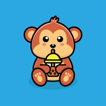 Macaco fofo bebendo chá de boba