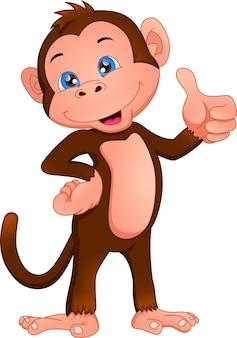 Macaco fofo desenho animado polegar para cima