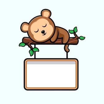 Macaco fofo dormindo na árvore com mascote dos desenhos animados do quadro de texto em branco