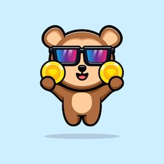 Macaco fofo e rico com mascote de desenho animado com moeda de ouro