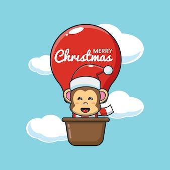 Macaco fofo em balão de ar ilustração fofa dos desenhos animados de natal