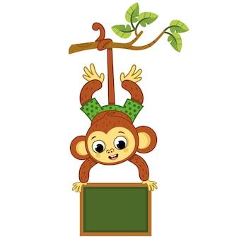 Macaco fofo em uma árvore balançando com uma placa. ilustração vetorial