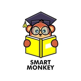 Macaco fofo lendo livro com óculos e chapéu de formatura