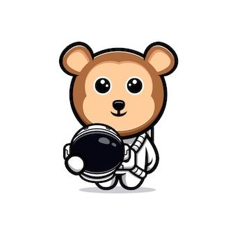 Macaco fofo mascote dos desenhos animados de astronauta