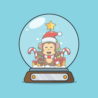 Macaco fofo no globo de neve ilustração fofa dos desenhos animados de natal
