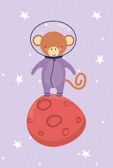Macaco fofo no personagem planeta