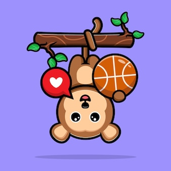 Macaco fofo pendurado em uma árvore e jogando basquete, mascote dos desenhos animados