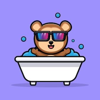 Macaco fofo rico mascote dos desenhos animados tomando banho