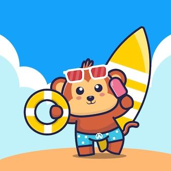 Macaco fofo segurando uma argola de banho de sorvete e ilustração dos desenhos animados da prancha de surf