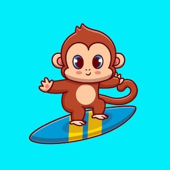 Macaco fofo surfando