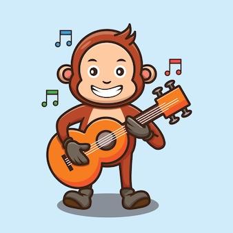 Macaco fofo tocando desenho de guitarra ilustração vetorial desenho animado de personagem