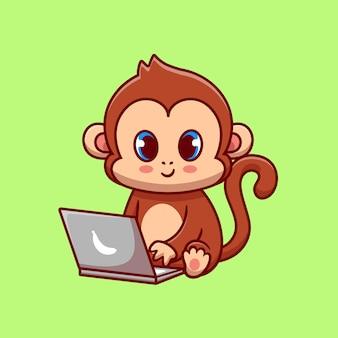 Macaco fofo trabalhando no laptop