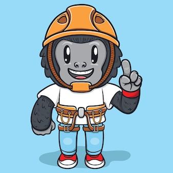 Macaco fofo usando kits de aventura ilustração de personagens
