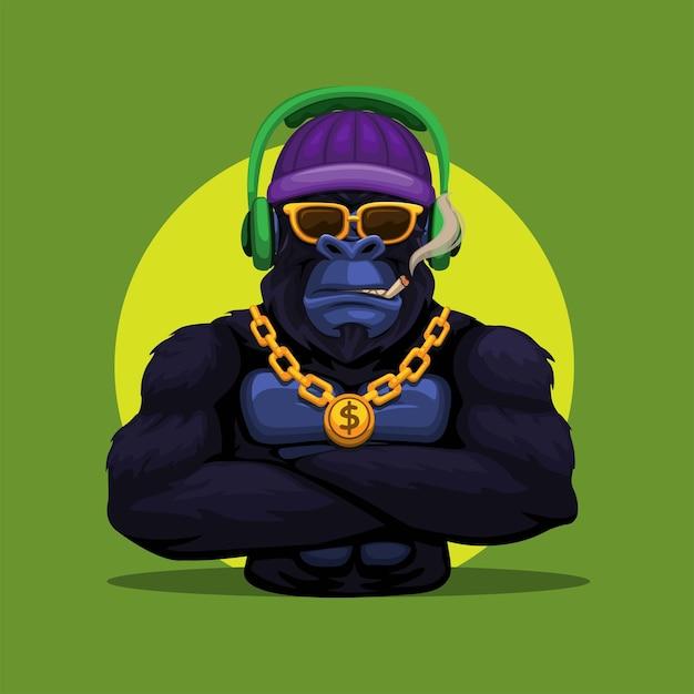 Macaco gorila king kong usando fone de ouvido e colar de ouro, mascote, personagem, ilustração vetorial