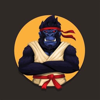 Macaco gorila vestindo uniforme de caratê animal arte marcial atleta personagem ilustração vetorial
