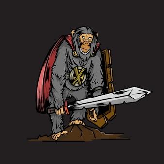Macaco guerreiro com escudo e espada ilustração