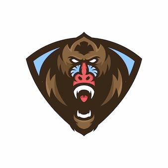 Macaco mandrill - logotipo vetorial / ilustração do ícone mascote