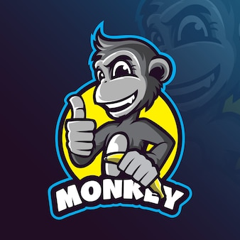 Macaco mascote logotipo projeto vector com ilustração moderna