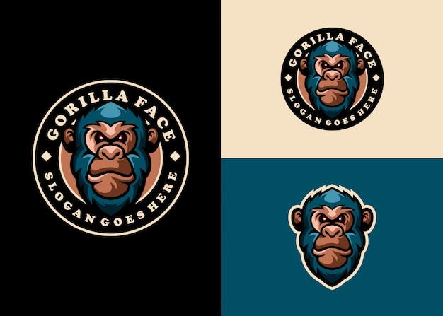 Macaco moderno criativo, coleção de logotipo do mascote do emblema do gorila