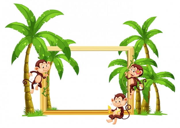 Macaco na moldura de madeira
