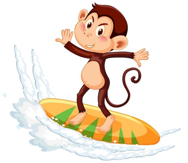 Macaco na personagem de desenho animado de prancha de surf