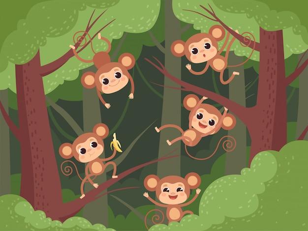 Macaco na selva. bichinhos selvagens brincando na árvore e liana e chimpanzé comendo frutas banana cartoon fundo