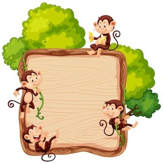 Macaco na tábua de madeira