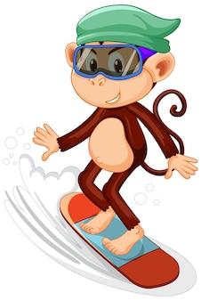 Macaco no personagem de desenho animado de skate