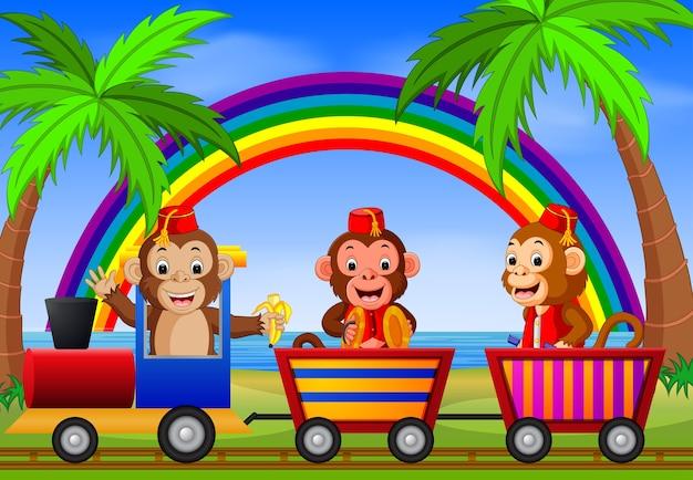 Macaco no trem com arco-íris
