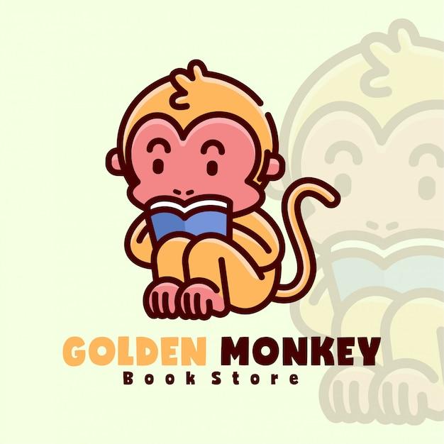 Macaco pequeno de ouro lendo um logotipo de desenho animado de livro