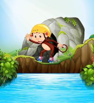 Macaco que joga o patim de rolo na natureza. caricatura, personagem, ilustração