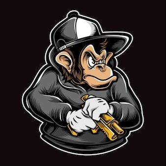 Macaco segurando a ilustração de arma