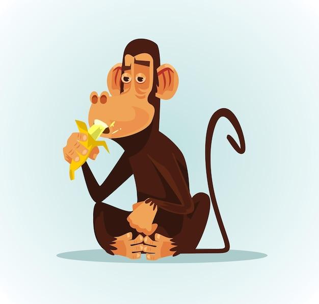 Macaco sorridente e feliz comendo banana, ilustração plana dos desenhos animados