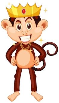 Macaco usando coroa de personagem de desenho animado